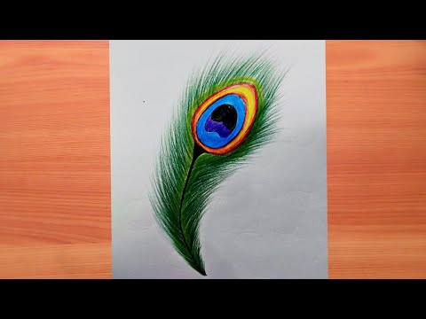 How to draw beautiful peacock feathers with color pencil    Muskan drawing & art   