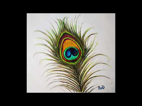 How to Draw Peacock Feather By Water Color \ peacock feather drawing