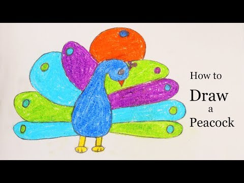 How to draw a Peacock with Open feathers   Simple Peacock Drawing Tricks by Simple Crafts
