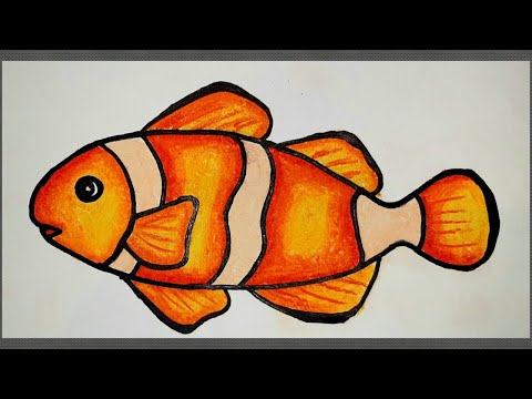 How to draw a fish step by step (very easy) fish drawing with color aquarium fish drawing