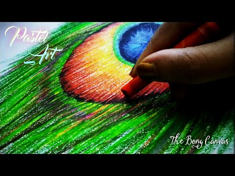 Peacock Feather Drawing - Janmasthami Drawing in 2020 / Oil Pastel Drawing / Lockdown Drawing