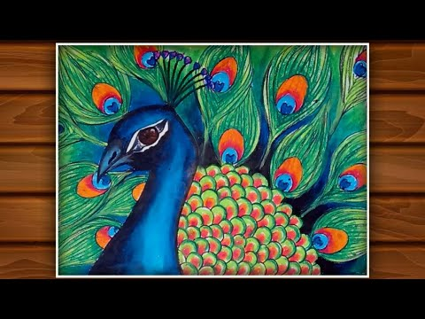 How to draw a Beautiful Peacock with Beautiful Nature very easy / Peacock Painting with Oil Pastels