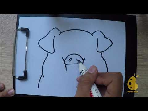 How to Draw pig full face