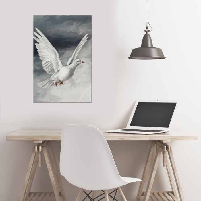White Dove Bird in Flight Painting Canvas on wall in Room