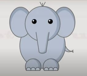 Draw simple elephant with shapes