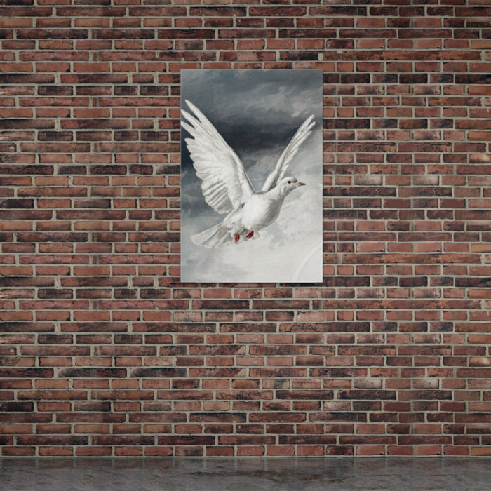 White Dove Bird in Flight Painting Canvas on Brick Wall