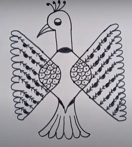 Draw a flying peacock using dots