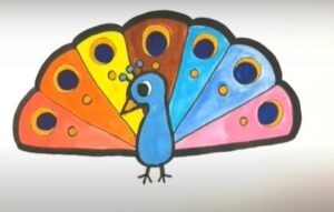 Easy peacock drawing for kids