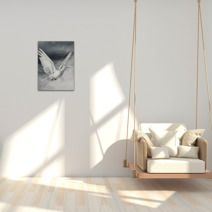 White Dove Bird in Flight Painting Canvas in Room on wall