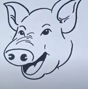 How to draw a pig face step by step