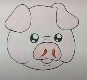 How to draw a cute pig face