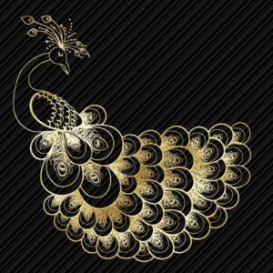Peacock abstract art in gold