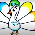 Simple Colorful Peacock Drawing - 5 Step-by-Step & Easy Ways
