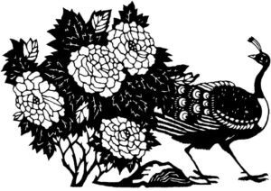 Peacock amidst flowers drawing