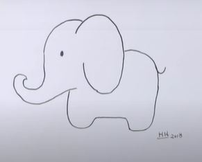 Very Simple and Easy Elephant Drawing